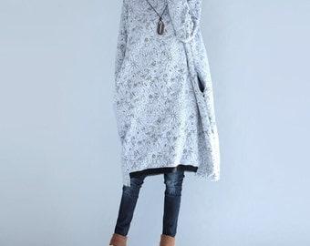 high collar cotton dress in Gray/ Black
