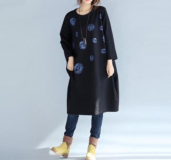 Women Loose Fitting Soft comfortable Cotton Long plus velvet dress
