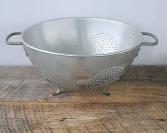 Vintage Aluminum Footed Colander Strainer Punched Circles with Handles