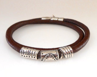 Leather Double Wrap Bracelet With Handmade Silver Beads and Lobster Clasp