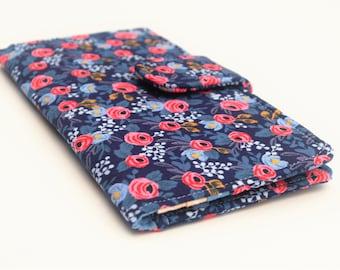 Women's Wallet, Fabric Clutch Wallet, Vegan Wallet, Indigo Floral