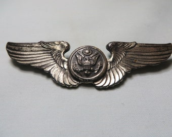 WW II U.S. Army Air Force Crew Wings 3 Inches these are clutch back