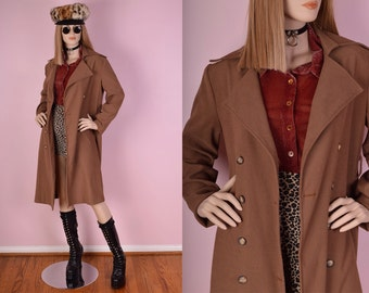 90s Tan Trench Coat/ Large/ Jacket/ Lightweight/ Duster