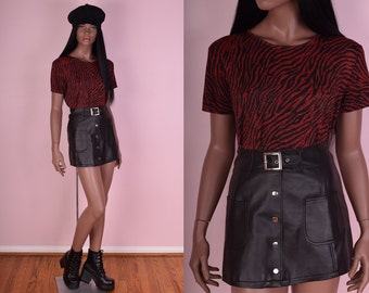 90s Red and Black Animal Print Knit Shirt/ X-Large/ 1990s/ Glitter/ Metallic