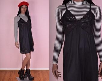 VTG Black Lace Trim Slip Dress/ Medium/ Floral