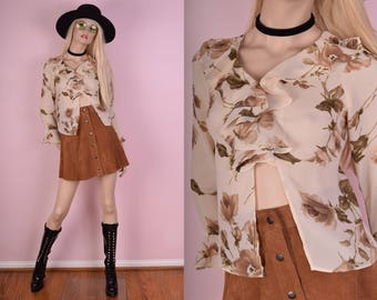 90s Floral Print Ruffled Semi Sheer Blouse/ Small/ 1990s