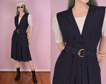 80s Polka Dot Dress/ US 8/ 1980s