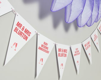 Ruby Wedding Anniversary Bunting // Party Decoration // 40th Wedding Anniversary Bunting // Wedding Anniversary // Anniversary Banner