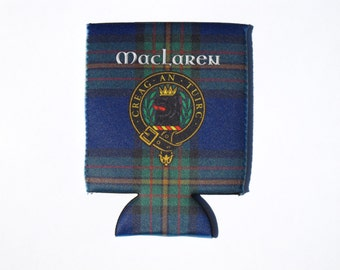 Clan MacLaren badge and Tartan can and bottle huggers, beverage insulators with option of matching bottle opener keyring. Clan Cozies