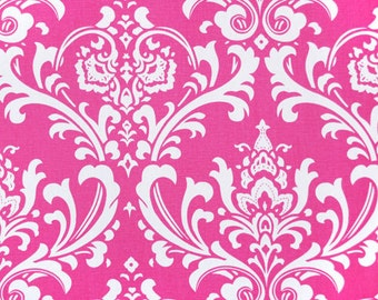 Pink and White Damask Curtains Ozbourne Candy - Rod Pocket - 63 72 84 90 96 108 120 Long x 25 or 50 Wide