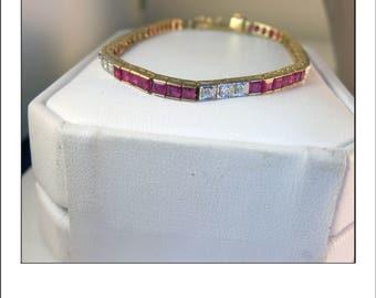 Estate 18k 6 Carat Square Cut Ruby and Diamond Tennis Bracelet