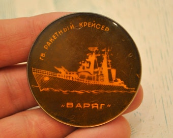 "Vintage Soviet Russian  badge,pin.""Russian cruiser Varyag""."