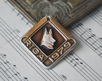 "Vintage 1979 Latvian aluminum dog tag.""Riga 1979"""