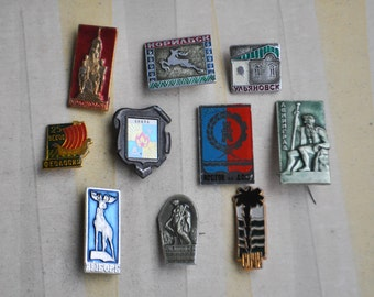 """Set of 10 Vintage Soviet Russian badges,pins.""""Russian cities"""""""