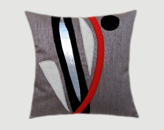 "Decorative Pillow Case, Grey-Silver Throw pillow case with Abstract Red, Black, Silver accent, fits 18""x18"" insert, Toss pillow case."
