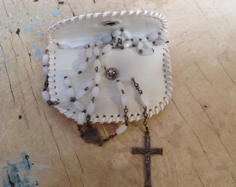 Vintage French  rosary, white beads, with pouch