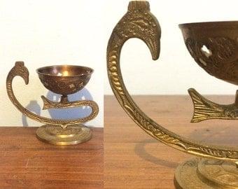 Vintage Indian Oil Lamp /Brass Candle Holder / Ethnic India Metal Votive Holder