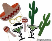 Cinco De Mayo Photo Booth Props ~ 9 or 22 piece prop set with GLITTER ~ Mexican Photobooth Props