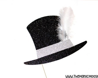 Photo Booth Props ~ Vintage Mini Hat with Feather ~ Mini Top Hat