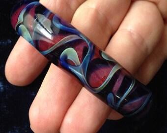 Fused Glass Cuff Bracelet, Blue, Orange, Hipster