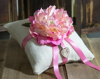 Pink Peony ring bearer pillow. Customize with flower and bride and groom initials