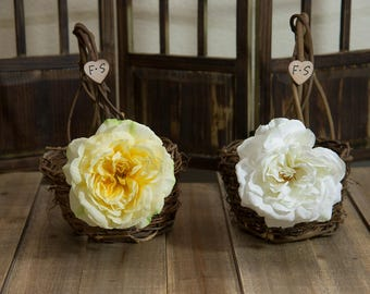 Set of 2 Small Rustic twig flower girl baskets decorated with sophia roses and bride and groom initials other flowers to select from