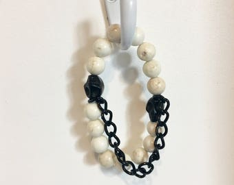 White stone and black chain stretch bracelet stones and skulls