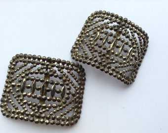 Victorian French Steel Cut Buckles or Clips Vintage Retro Fashion Accessories