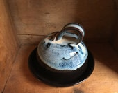 Butter Dish in Midnight Surf by village pottery pei