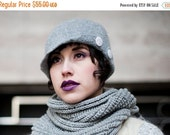 ON SALE 1920s Style Winter Cloche Hat - Felted Merino Wool with Asymmetrical Button Detail