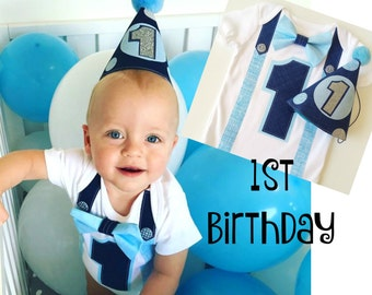 1st Birthday Boy Bodysuit and Party Hat Navy and Blues Classic Style Bow Tie All In One One Piece Bodysuit Birthday Party