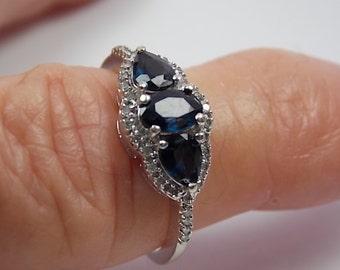 Royal Blue Sapphire and Diamond Three-Stone Ring 1.50Ctw White Gold 10K 2.6gm SZ 7