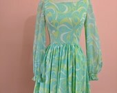 ON SALE 1960s Aqua Lime Psychedlic Swirl Dress Full Skirt Balloon sleeve Small S