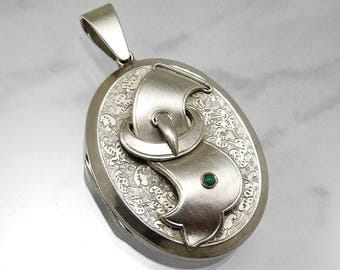 Antique Victorian Sterling Silver Locket Engraved Buckle for Collar Necklace Turquoise Stone