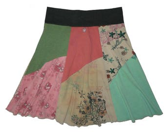 Recycled Clothing Women Large XL Boho Hippie Skirt Midi Skirt Bohemian Skirt upcycled t-shirt skirt eco clothing Twinkle Skirts Twinklewear