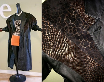Vintage 80s Black Leather Maxi Coat 1980s New Wave Punk Hipster Goth Snakeskin & Leopard Animal Print Suede Chevron Padded Shoulder Pads M