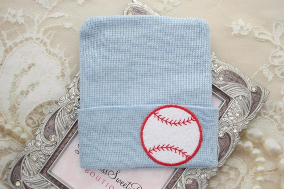 BOYS Baseball Newborn Hospital Hat, baseball beanie, infant beenie, hospital take home hat, boys sports, baby beenie by Lil Miss Sweet Pea