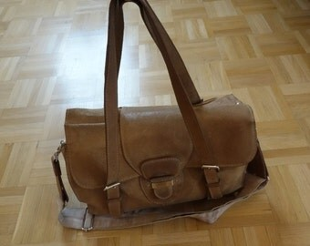 Carven cotton lined leather vintage messenger bag / shoulder bag