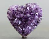 Flatback Purple Heart Drusy Amethyst Raw Crystal Bohemian Tribal Jewelry February Birthstone Healing Meditative Meditation Jewelry (CA7709)