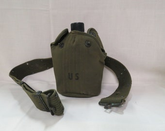 Vintage US Military Canteen Army With Belt and Cover WWII Korea Aluminum Olive Drab