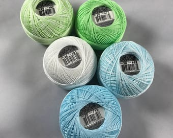 Lizbeth Tatting Thread -  Size 20 - 5 Pack Ice Mix  (163, 187, 601, 677 and 710) - Your Choice of Total Amount