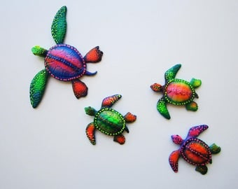 Whimsical colorful turtle wall decor, fun beach decor, nautical wall art