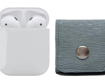 AirPods Pouch, Earphones Cover Case. Belt Loop Solution. Vegan. Viking Blue. Belt Clip Pouch