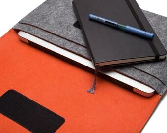 "15"" inch Macbook Case Organizer, 15 inch laptop Cover - Gray & Orange"