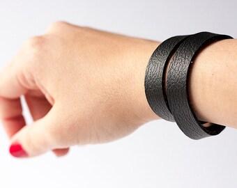 Vegan Leather Bracelet / Slim Wrap Cuff / Vegan Black
