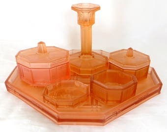 Art Deco Dressing Table Set, Czech Reich Geometric Peach Frosted Pressed Glass 6 pce Ladies Vanity Set 1930s