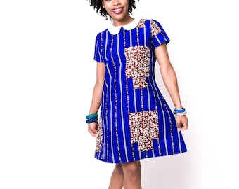 Peter pan collar ankara blue shift dress
