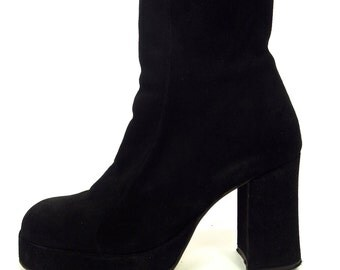 Stylish Chunky 90s Black Suede Platforms UK4