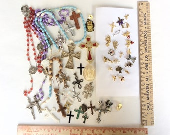 lot salvaged religious rosaries and crosses charms saint medals angels lapel pins assorted  assemblage or wear