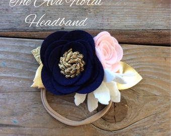 Felt Rose Headband in Pink Navy and White Baby Girl Headbands Photography Props Newborn Headbands Felt Flowers